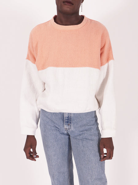 Coral & White Panel Sweatshirt