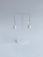 Sterling Silver & Freshwater Pearl w/ Double Terminated Rock Crystal Earrings