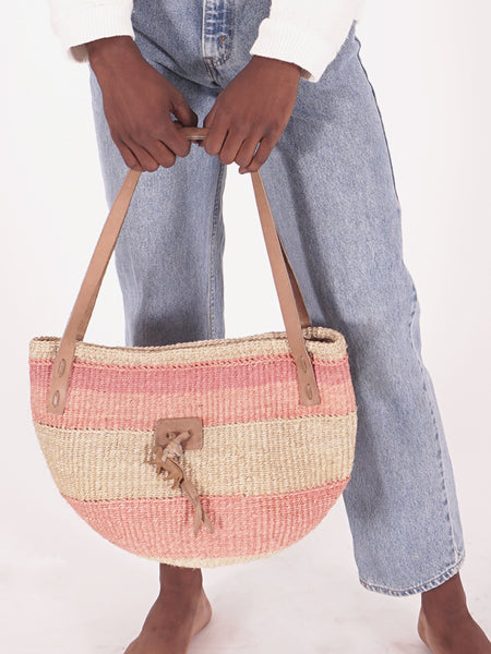 Pink & Natural Woven Straw Bag