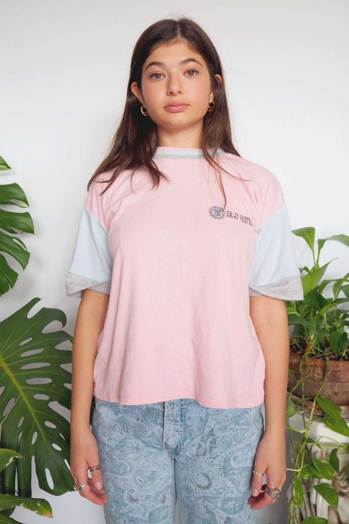 90's Gitano Pink & Blue Color Block Shirt