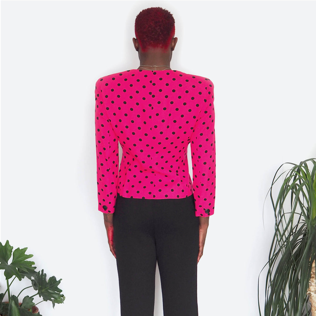80's Pink & Black Polka Dot Suit Jacket