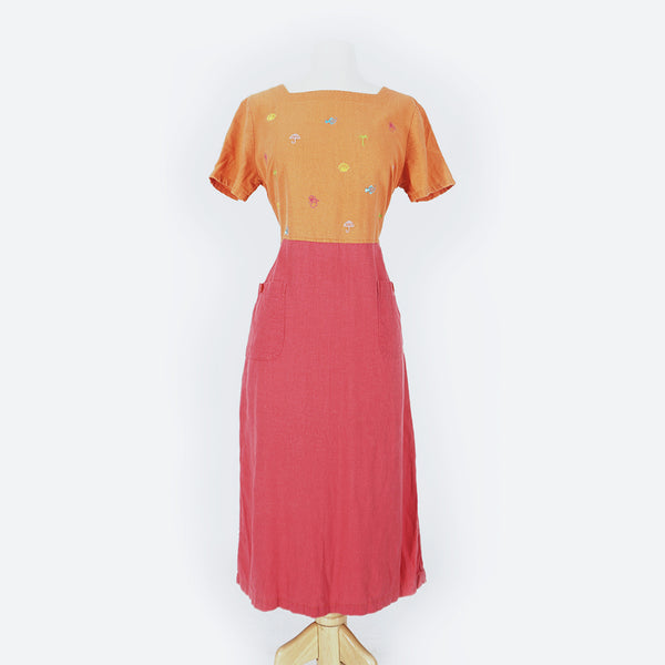 90's Pink & Orange Embroidered Fish Dress