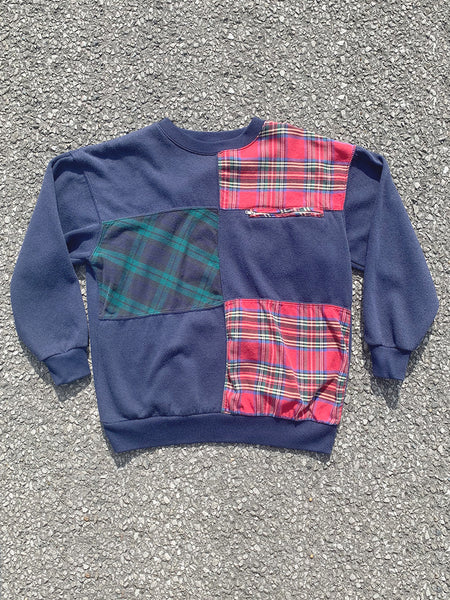 Navy Plaid Panel Sweatshirt