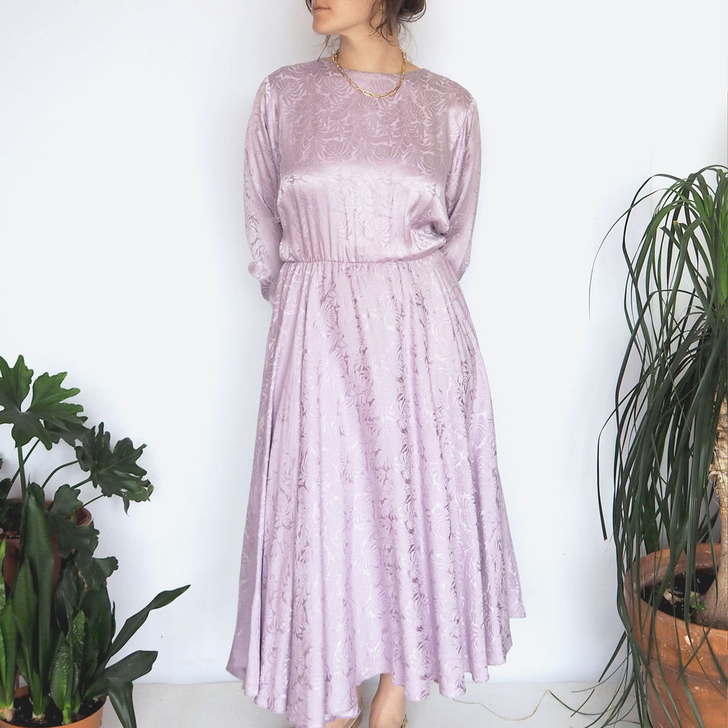 80's Silk Lavender Bow Dress