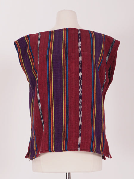 Red & Purple Striped Huipil