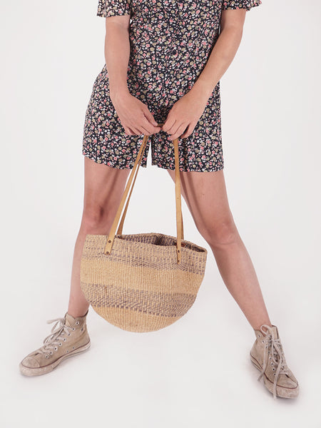 Natural & Light Purple Woven Straw Bag