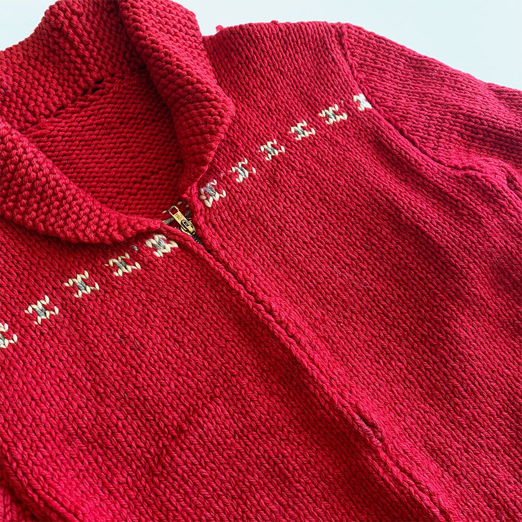 Red Cowichan Siwash Knit Zip Sweater w/ Winter Dog Scene
