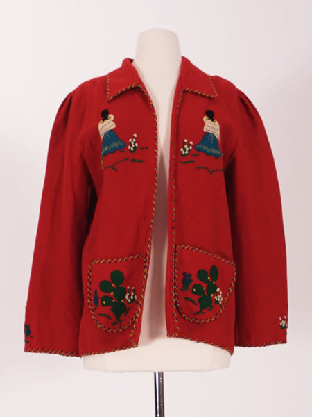 50's Red Wool Mexican Tourist Jacket