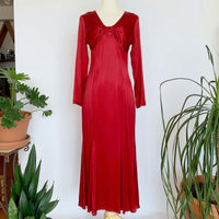 Red Satin Long Sleeve Gown