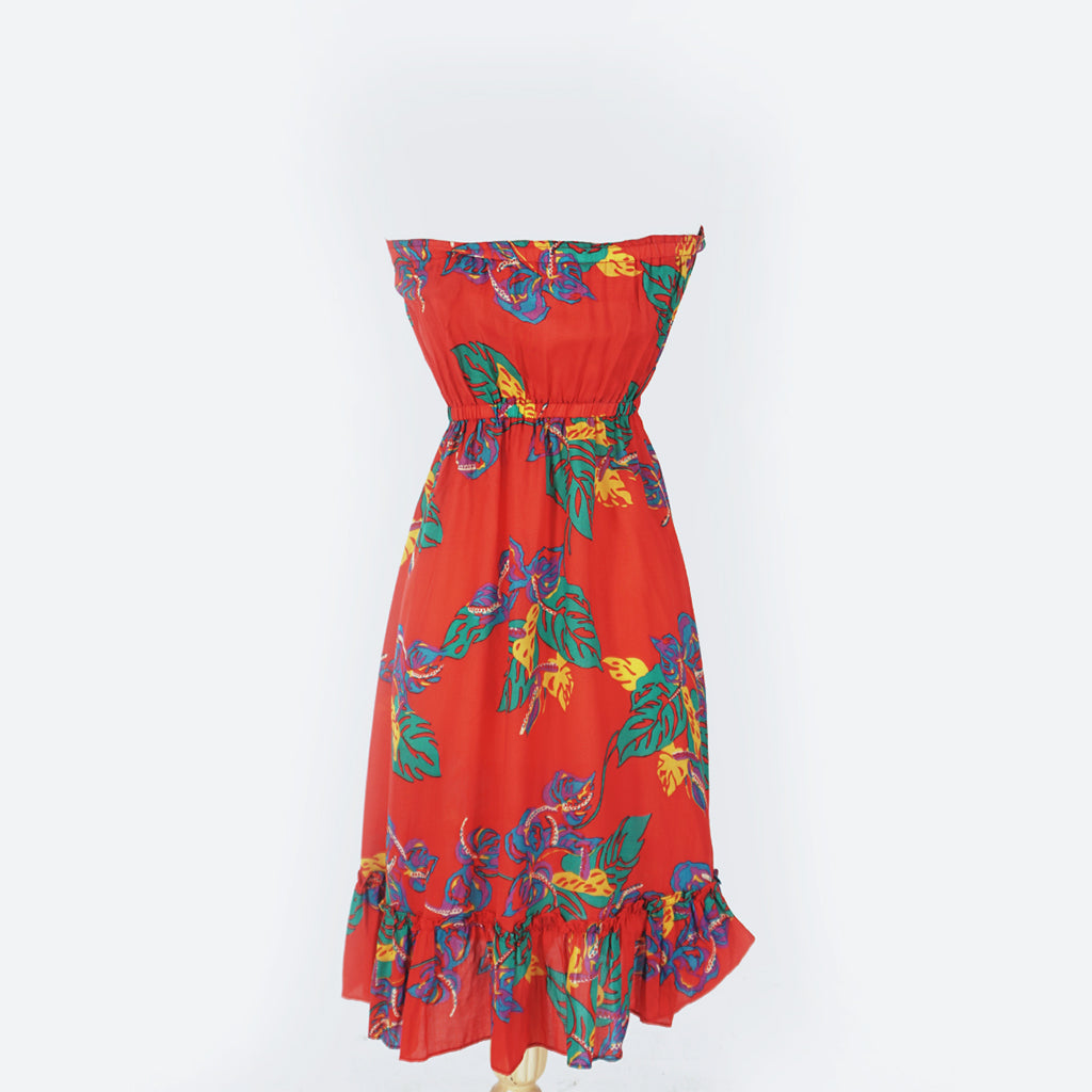 Red Strapless Hawaiian Print Dress