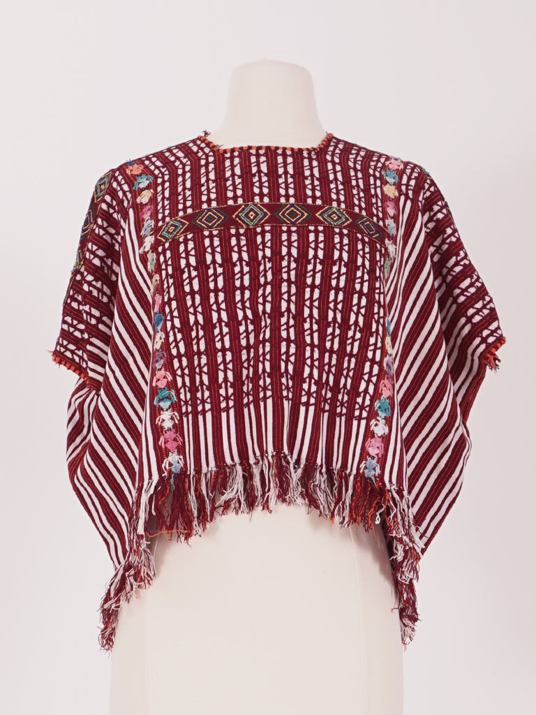 Red & White Striped Huipil