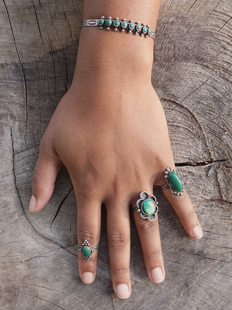 Diamond Shaped Silver & Green Turquoise Ring