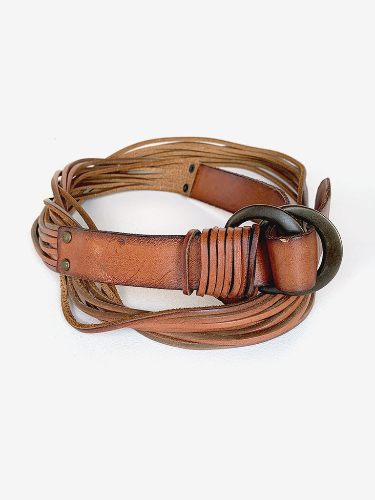 Brown Leather Strand Belt