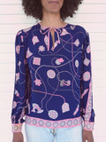 70's 'Pucci' Blue & Pink Silk Blouse