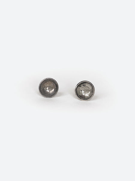 Mini Concave Silver Earrings