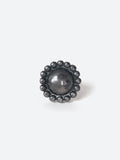 Round Flower Ball Silver Ring