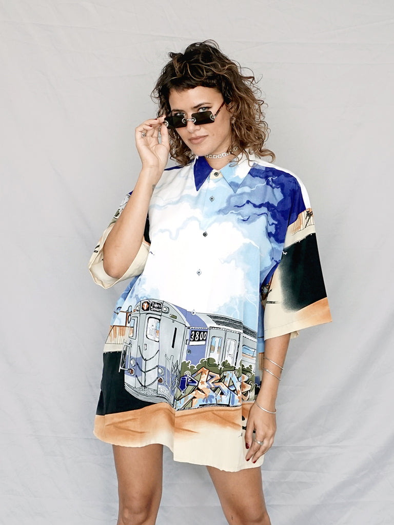 Subway Graphic Short Sleeve Button Down