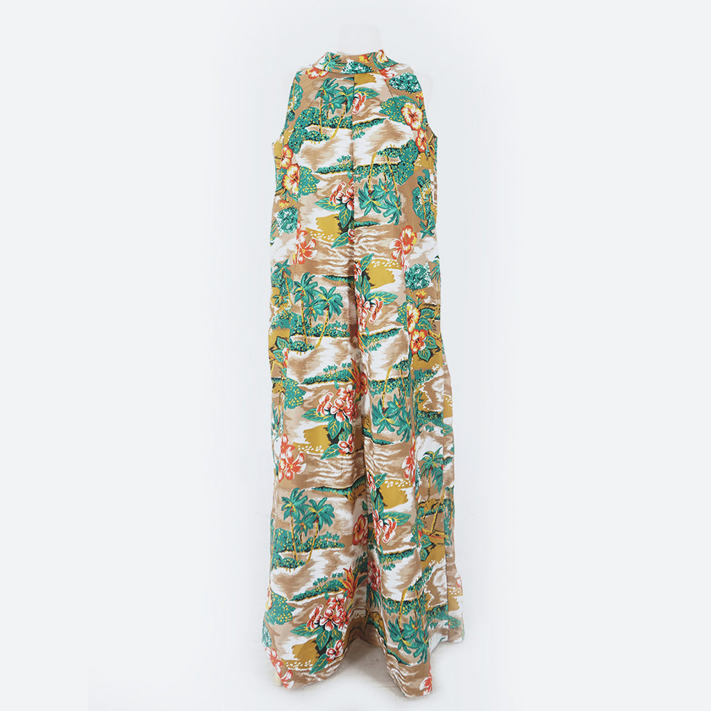 60's Brown Hawaiian Print Maxi Dress