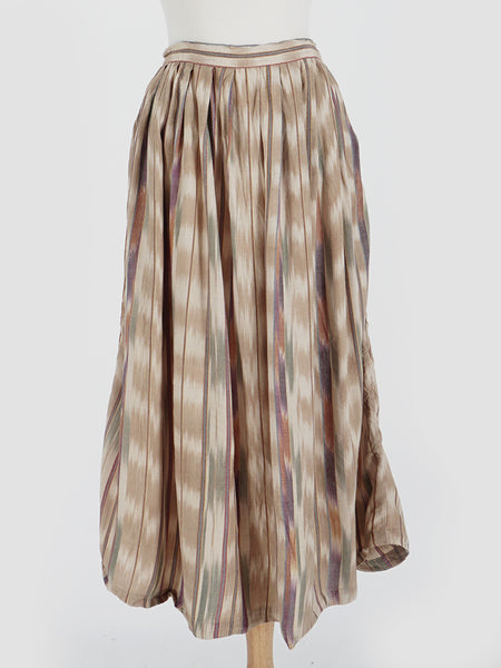 Tan Ikat Print Pleated Skirt