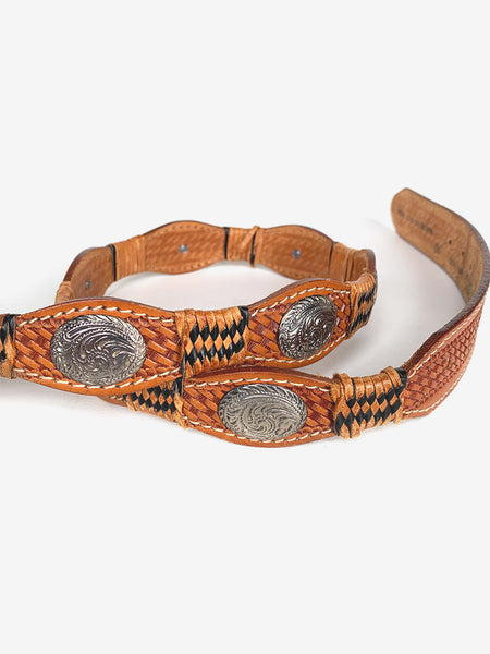 Woven Leather & Silver Belt