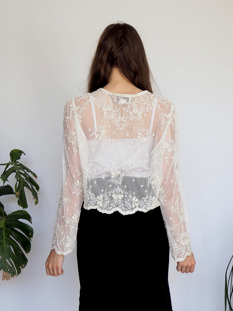 Laurence Kazar White Sheer Beaded Jacket