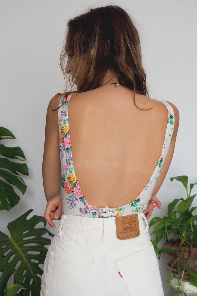 White Floral Body Suit