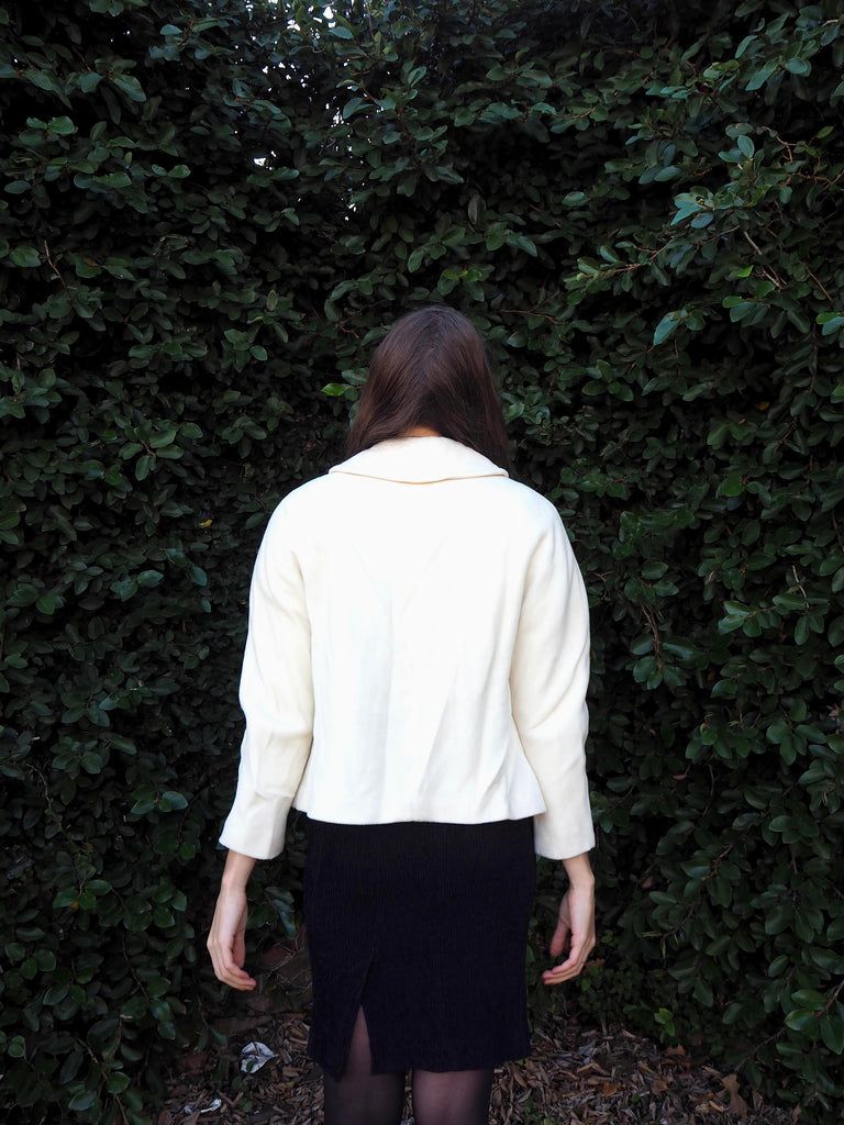 60's Cream Cropped Knit Jacket