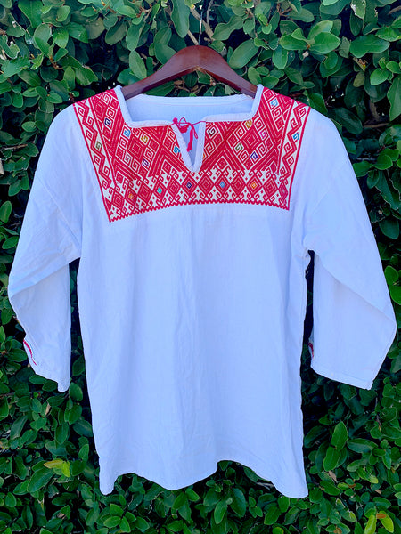 White & Red Embroidered Floral Blouse
