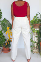 90's Liz Claiborne Cream Linen High Waisted Trousers