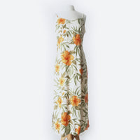 White & Orange Tropical Print Maxi Dress