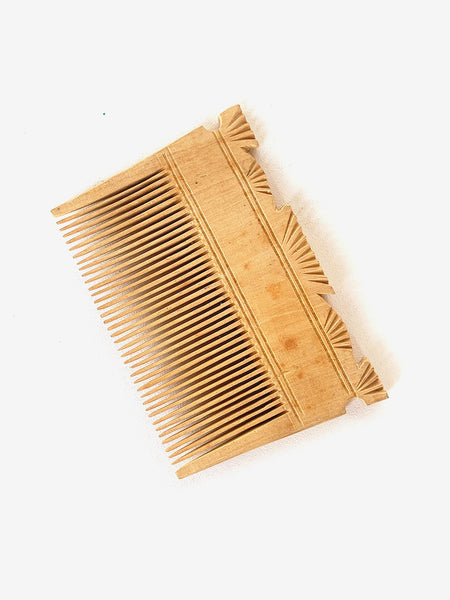 70's Wooden Carved Comb