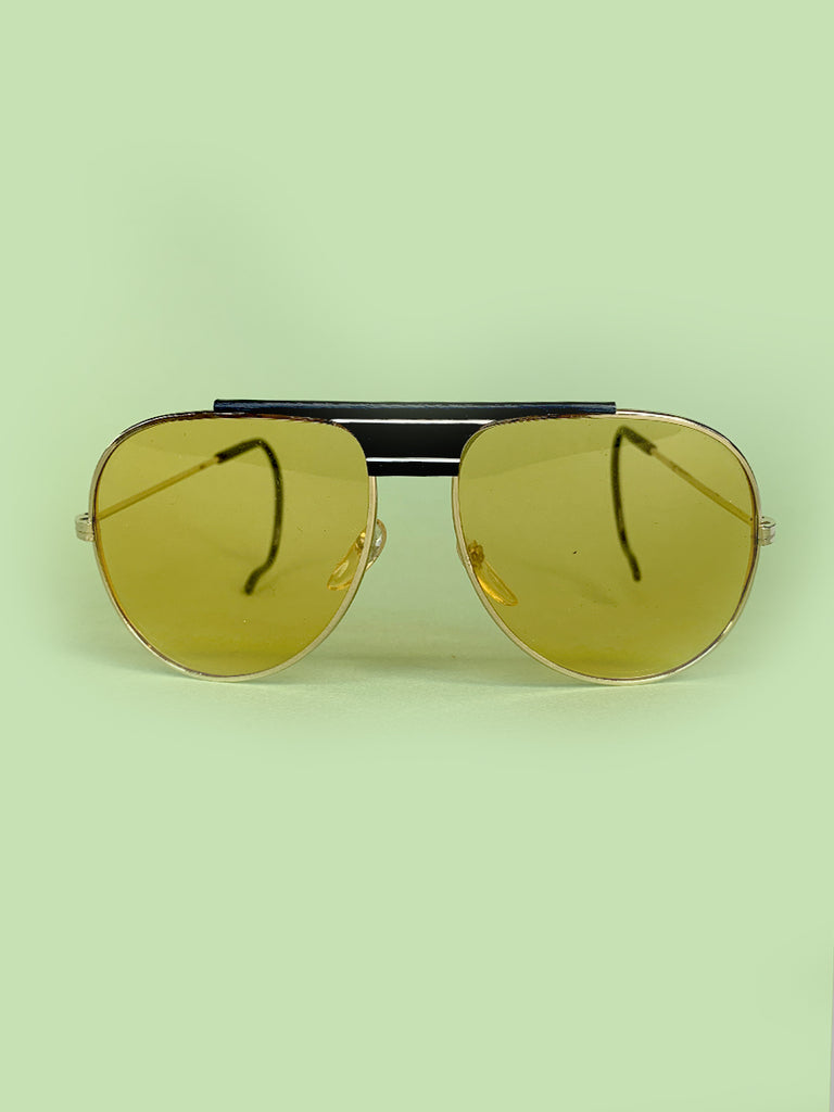 80's Yellow Lens Aviator Sunglasses