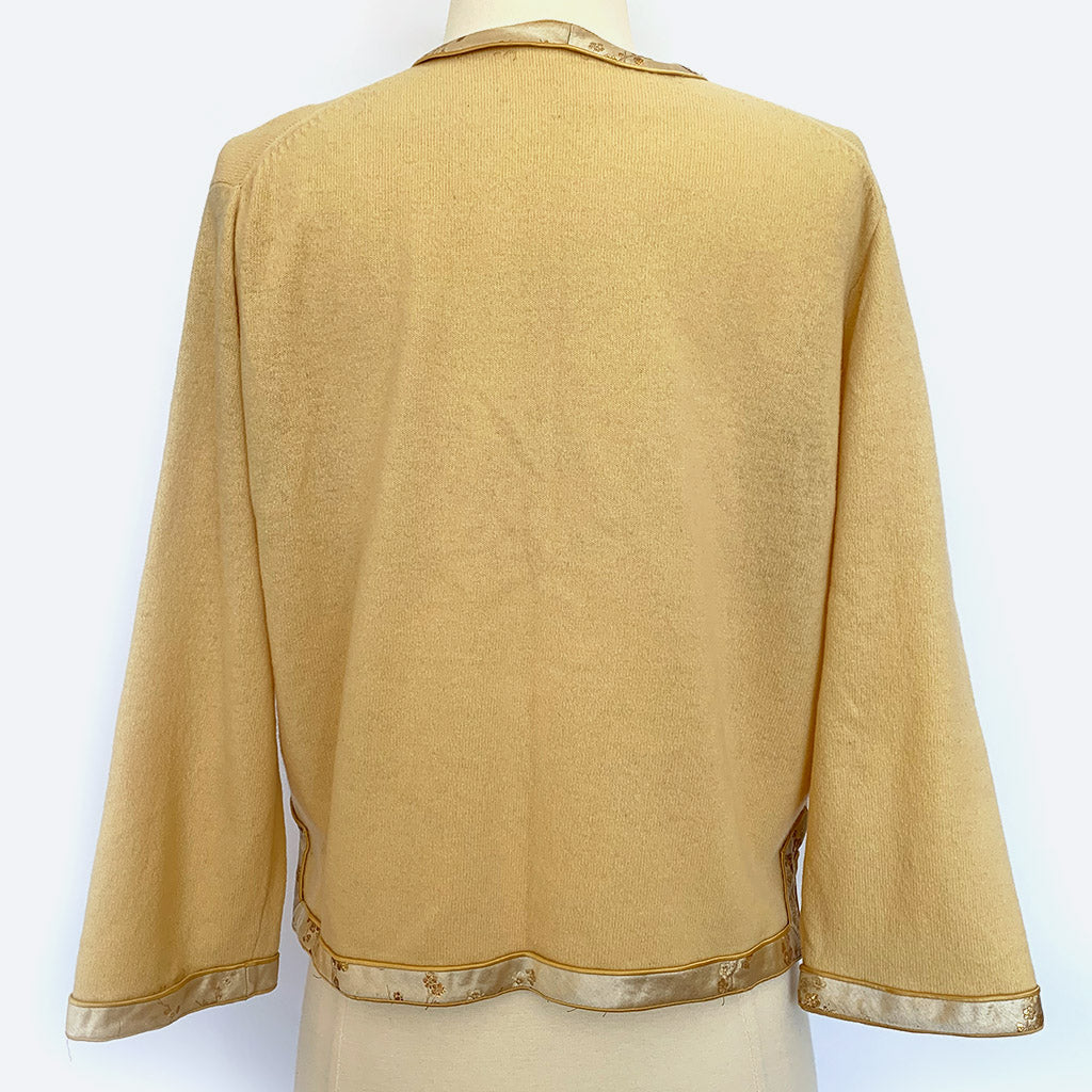 Yellow Wool Cardigan w/ Asian Trim