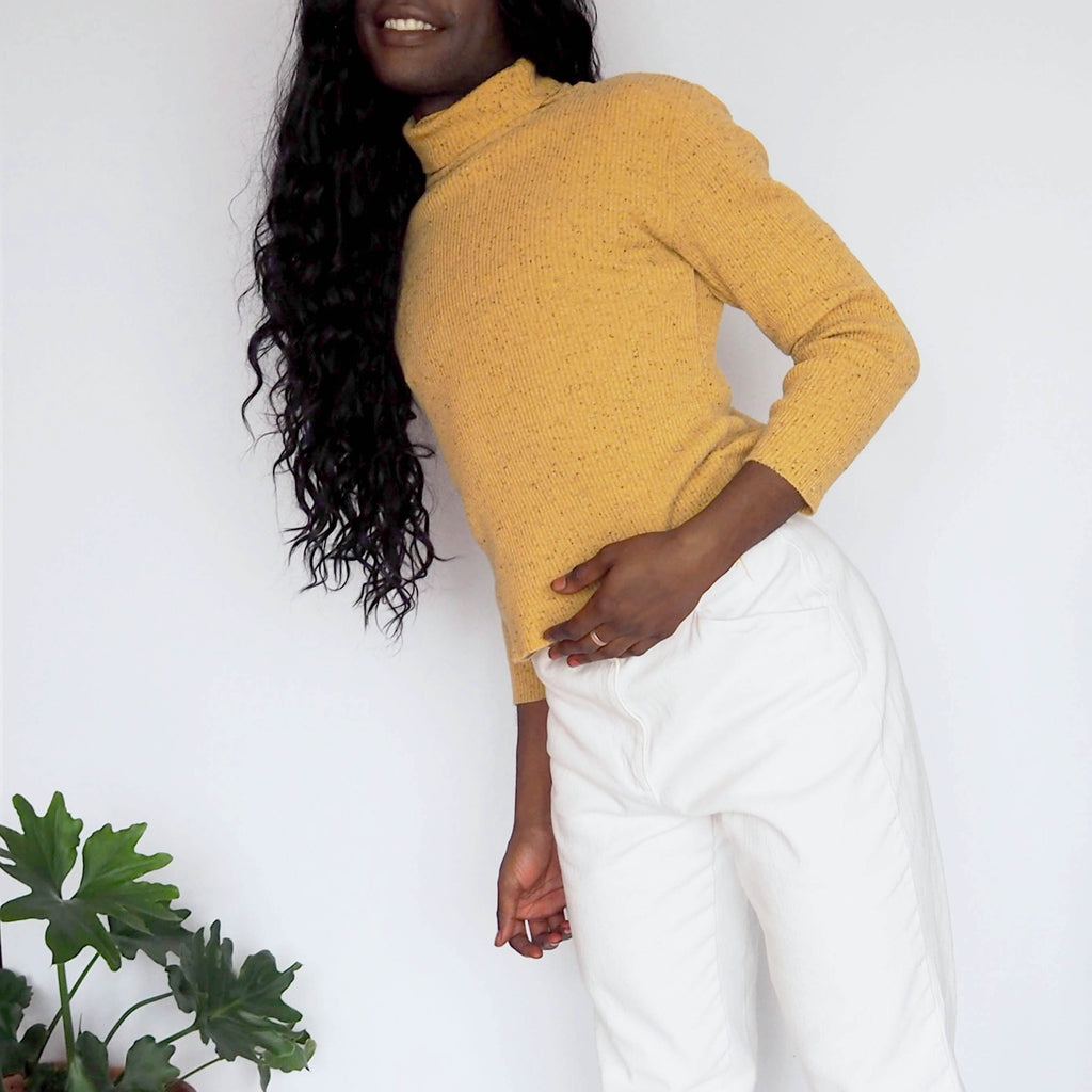 Chico's Speckled Yellow Turtle Neck Sweater