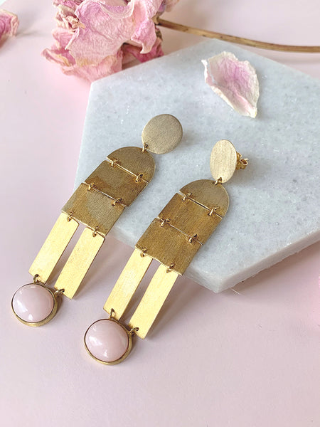 Zoja Pink and Gold Earrings