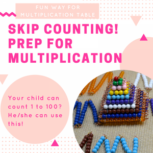 Montessori short bead chains and squares -  skip counting and preparation of multiplication