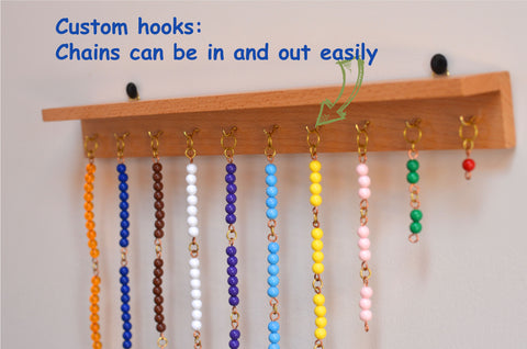 Montessori short bead chains custom wooden hanger