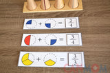 Montessori learn fraction math toy. Fraction skittles with wooden natural dice / math busy bag / gift for children / math game