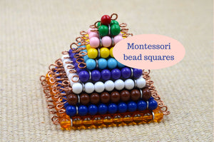 Montessori bead squares / Prep for multiplication /  skip counting practice / Free shipping / Math Materials
