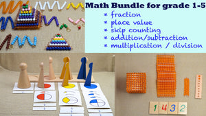 Montessori Math learning bundle / Montessori toys / fraction / skip counting / times table / homeschool / place value /  gift for children