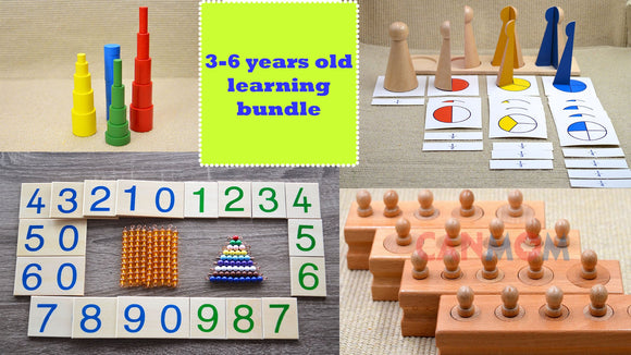 Montessori learning toys / learning bundle set / Montessori cylinders / fraction skittles / two digits learning / math learning set