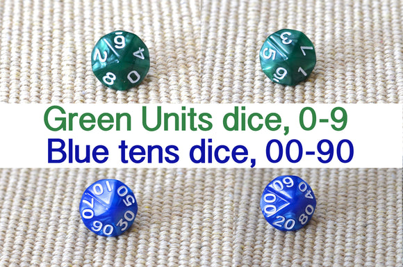 math dice / unit dice / tens dice / fraction dice