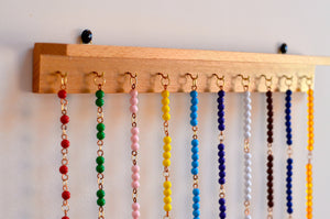 Montessori bead chains wooden hanger