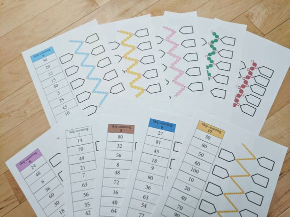 Montessori Math skip counting worksheet