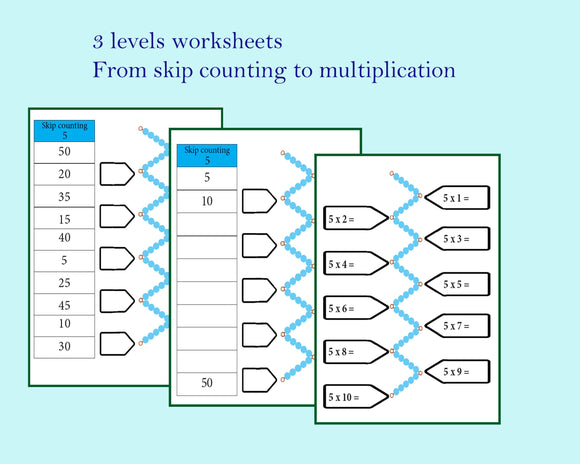 Math skip counting worksheet bundle / Montessori math worksheet / multiplication table practice / times table