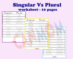 English Singular vs Plural worksheets / Montessori english worksheets