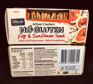 Gluten Free Fig & Sunflower Seed Artisan Wafers - Gluten Free