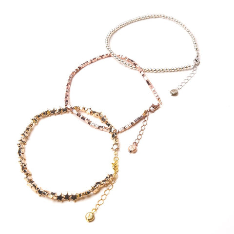 3-Pack Anklets in Yellow Gold, Rose Gold & Silver Hematite