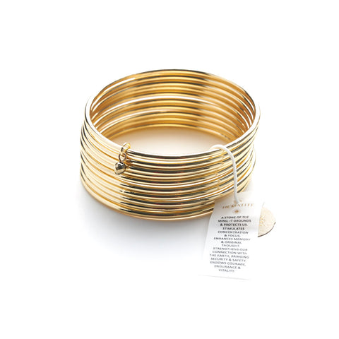 New: Yellow Gold bangles with a Hematite bead Healing Bracelet (set of 10)