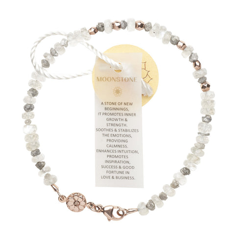 RawLuxe : Rough diamonds, moonstones & 18k rose gold nuggets healing bracelet 40% off now